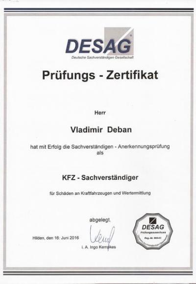 Die Zertifikate von Vladimir Deban