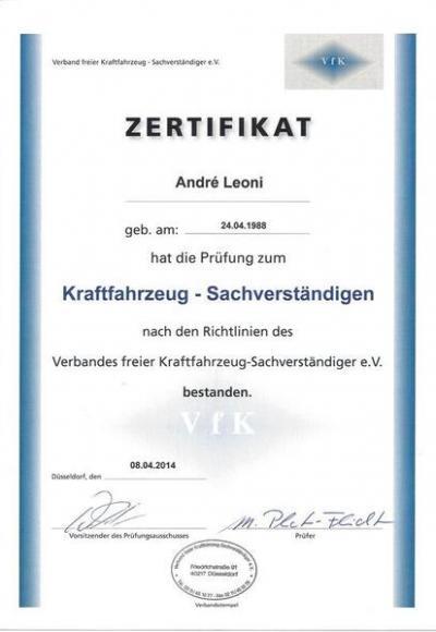 Die Zertifikate des Teams